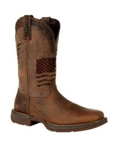 Durango Brown Distressed Flag Embroidery Western Boot DDB0314