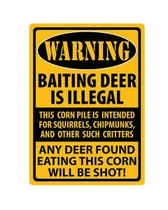 Rivers Edge Products Warning- Baiting Deer Tin Sign REP-1488
